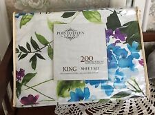Pointhaven King Sheet Set Percale Cotton Bold Floral Primavera 200 Tc New!
