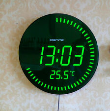 Modern Large Jumbo Digital Green Night Light Mute LED Wall Clock Thermometer