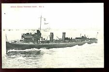 Navy British Ocean Going Torpedo Boat vintage Edwardian PPC