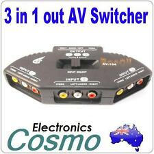 AV Audio Composite Video RCA Selector Switch Splitter Box+Cable 3 Way 1 In 3 Out