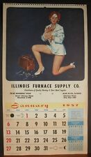 Brule' Pinup Redhead Checking Heart Rate Nurse Short Skirt Braless January 1957