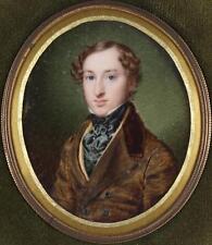 Floriano Pietrocola Antique 1841 Miniature Portrait Painting of a Gentleman