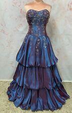 REDUCED TAFFETA BALLGOWN PROM DRESS BLUE PURPLE EVENING BEADED LARP PRINCESS 6-8