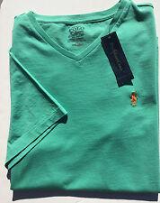 Polo Ralph Lauren V Neck T Shirt Mens S Green w/ Orange Pony Classic Fit NWT