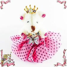 USA Handmade Keychain Cute Bear use Swarovski Crystal Gift Princess Hot Pink key