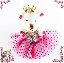USA Handmade Keychain Cute Bear use Swarovski Crystal Gift Princess Hot Pink key
