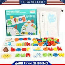 Wooden Alphabet Letter Learning Cards Set Word Spelling Practice Game Toys Gift