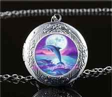 Dolphins Jumping In Moon Cabochon Glass Tibet Silver Locket Pendant Necklace