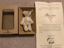 STEIFF MINIATURE WHITE TEDDY BEAR 2001 IMMACULATE BOXED WITH CERTIFICATE