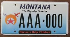 Montana 2008 SHRINERS HELP CHILDREN SAMPLE License Plate SUPERB # AAA-000