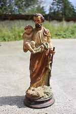 Signed J. Cambos 19th Century Antique St. Joseph and Jesus Plaster Statuette