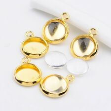 5 sets of 8mm Bubble Golden Locket Pendant with Glass Cabochon (BOX125)