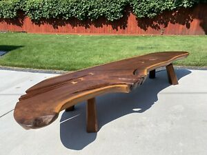 MCM George Nakashima Style Splayed Leg Slab Coffee Table With Inlaid Butterflies