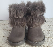 Toddler Girls Trolls Boots Taupe Brown Faux Fur  5 Warm