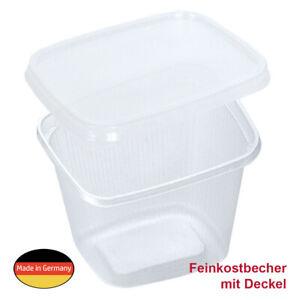 250 Feinkost-Becher Kompottschale Sülzeschale 500ml, eckig mit klarem Deckel