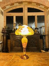 """More details for vintage french cameo glass table lamp by """"la rochere"""" art nouveau style"""
