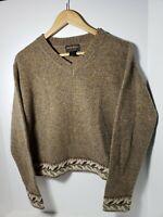 Woolrich Womens Wool Sweater Brown Khaki Leaf Floral Long Sleeve Vneck Small
