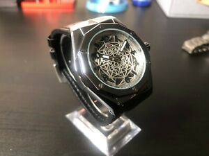 Forsinning Automatic Mechanical Skeleton Watch mens Silver Leather Luxury Watch