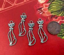 Vintage Style 10 x 33mm Aged Patina Silver Tone Metal Cat Charms 4