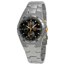 Seiko Titanium Chronograph Black Dial Mens Watch SND451
