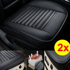 2x Universal Black PU Leather Car Front Seat Cushion Full Surround Bottom Cover