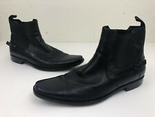 Hugo Boss Mens Mexis Chelsea Boots Size 11 Solid Black Buckle