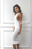 new womens ladies sexy midi bodycon cut out open side boob white dress size 8-14
