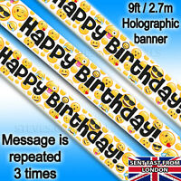 Happy Birthday Banner Emoji 😜LOL Smiley Faces Holographic Garland Party Hanging