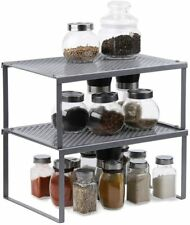 2 Pack Expandable & Stackable Cabinet Counter Shelf Organizer Spice Storage Rack