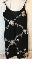 MAGGY LONDON Sz 10 Black Sleeveless Sheath DRESS Embroidered Floral Beading Mint