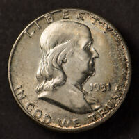 1951 50c FRANKLIN HALF DOLLAR *NICE ORIGINAL RAINBOW ALBUM TONING* #L006