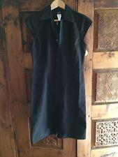 Philippe Adec Black Cotton Canvas Cap Sleeve ZipFront Dress w Tags. Sz 38 F