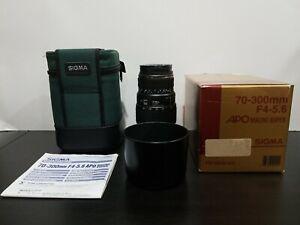 Sigma 70-300 F4-5.6 APO Macro Super Lens Fit for Nikon AFD Camera Lens W/ Case