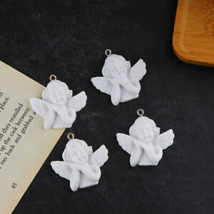 5 Pcs White Angel Wing 3D Resin Charm Jewelry Findings Pendant Earrings DIY~