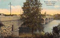 Kankakee Illinois~Washington Avenue Concrete Bridge~1912 Postcard