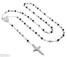 "Mens and Ladies Stainless Steel Silver/Black 30"" Rosary Necklace 4mm Round Beads"