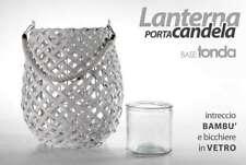 LANTERNA PORTA CANDELA 21 CM BASE TONDA INTRECCIO BAMBU ARY-736681