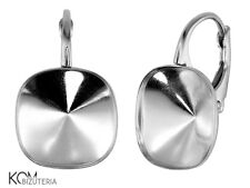 Sterling Silver leverback earring for Swarovski 4470 12 mm kz 85 (1 pair)