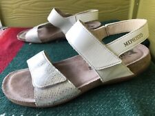 38 Mephisto Ankle Strap Sandals White Silver Snake 8 Women's Comfort Air Relax