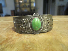 OLD Fred Harvey Era Navajo Sterling CARICO LAKE Turquoise HORSE DOG Bracelet