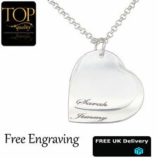 Double Heart Silver Pendant Personalised Engraved Name Necklace Jewellery Gift
