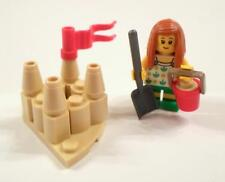 Lego City Beach Mini Figure Girl Sand castle flag Fun at the Beach Shovel Pail