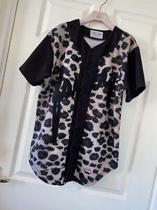 Mens Medium Sik Silk Shirt Baseball Top Rare Fairly Varsity Cammo Animal Print