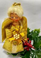 Vintage Christmas Ornament ANGEL Topper Gold Wing Dress Faux Pearls Mini 5""
