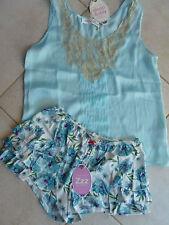 Peter Alexander XS AU 8 Aqua Camisole Top Lace Insert & Frill Sleep Short $110