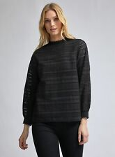 Dorothy Perkins Womens Tall Black All Over Broderie Blouse Long Sleeve Top