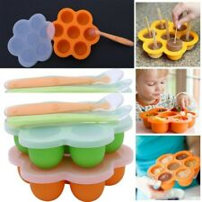 2Pc Food Storage Reusable Box Silicone Container Baby Preparation Freezer Tray D