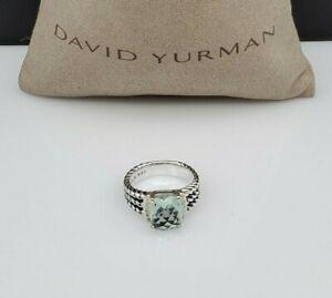 David Yurman Petite Wheaton Ring with Prasiolite and Diamonds size 8