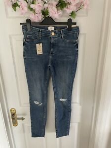 BNWT River Island Molly Mid Rise Ripped Jeggings Skinny Jeans UK 12 R