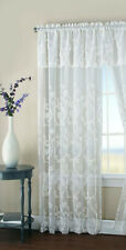 Window Curtain panel w attached Valance Floral Embroidery Matte Sheer  one Panel